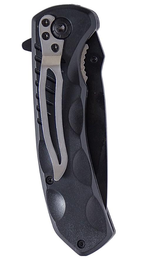 Couteau pliant à ressort manche fibre et lame 8,5 cm + clip ceinture
