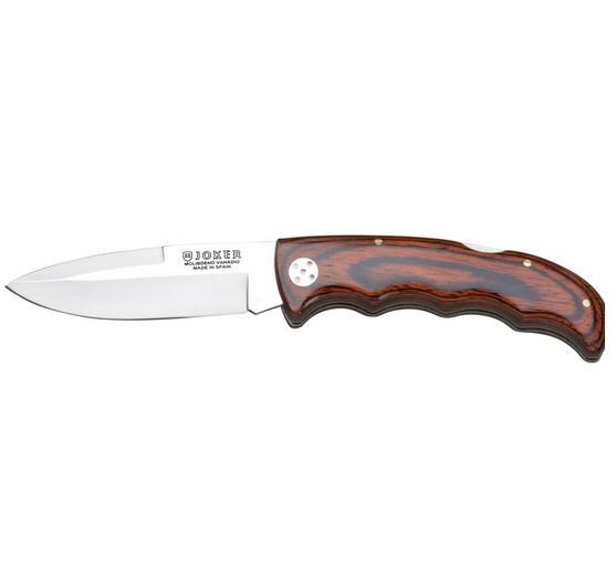 Couteau de chasse pliant Joker manche bois rouge lame 9cm